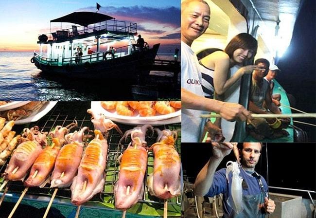 Hoạt động câu mực đêm là hoạt động sôi nổi nhất của Phú Quốc về đêm