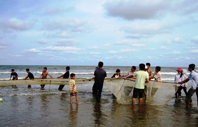 Cảnh ngư dân Hải Tiến kéo lưới buổ sáng