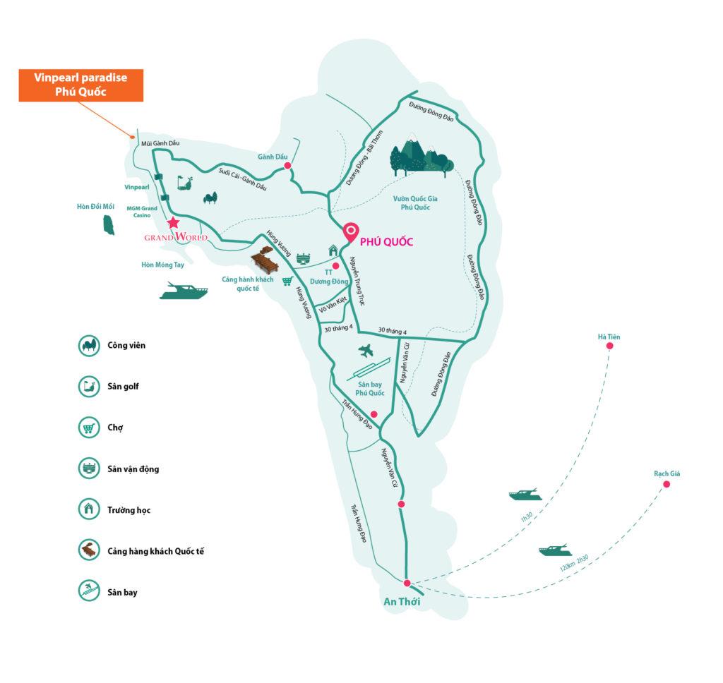 Bản đồ vị trí Vinpearl Phú Quốc