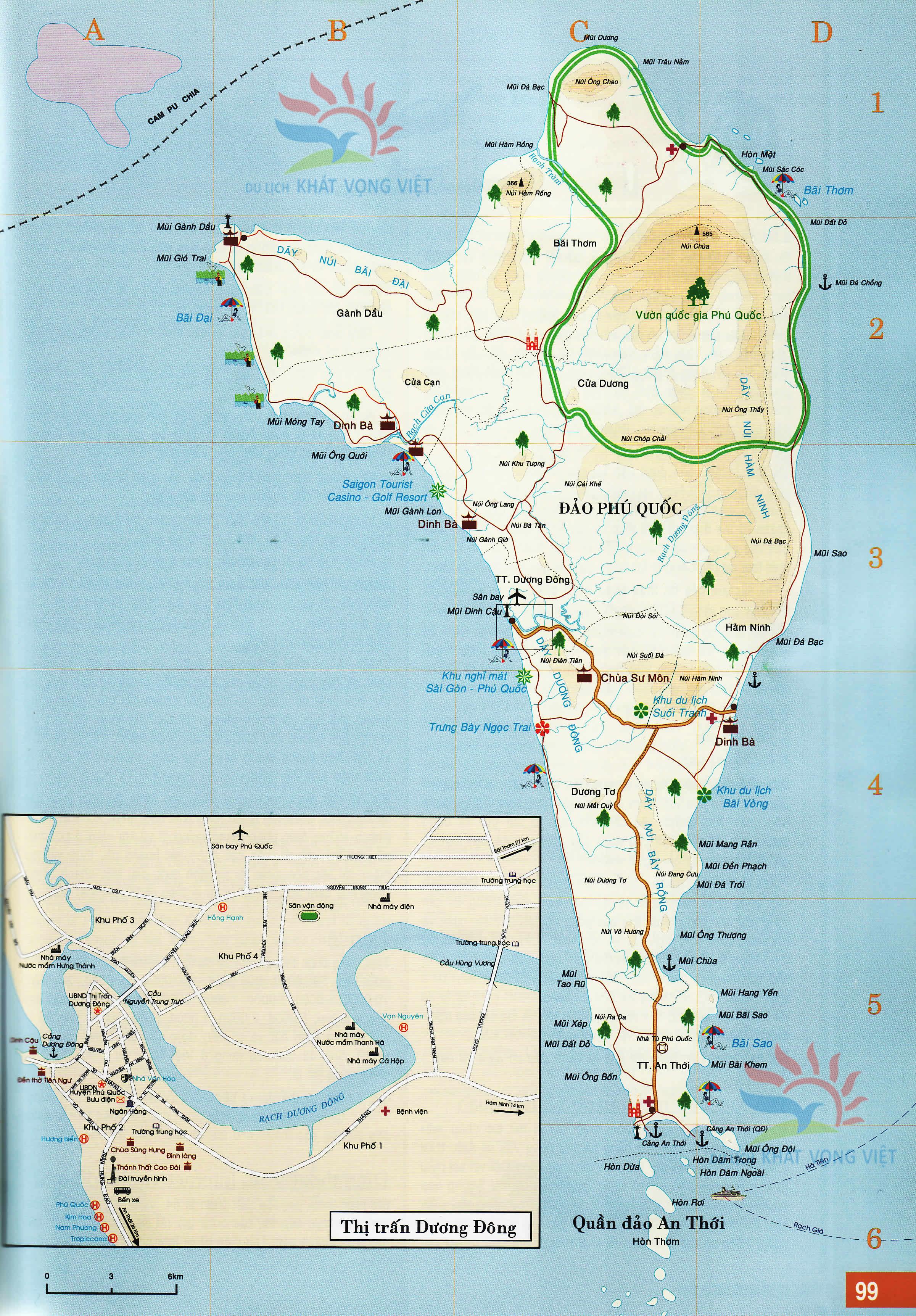 Bản đồ Hướng Dẫn Du Lịch đảo Phu Quốc đầy đủ Chi Tiết 2020