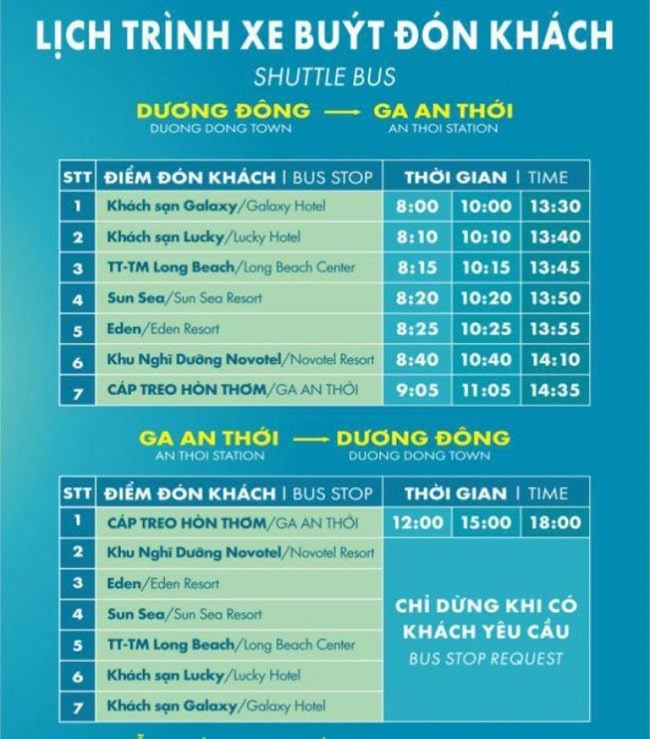 Lịch trình xe đưa đón khách từ Dương Đông đến Ga cáp treo An Thới