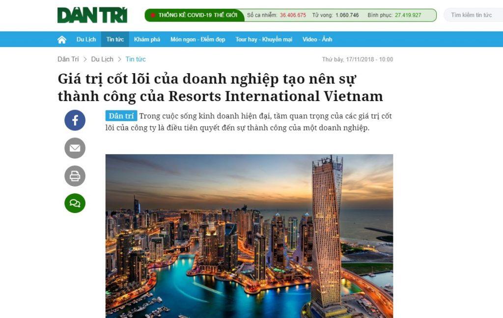 Bài PR của báo Dân Trí về công ty Resorts International Vietnam